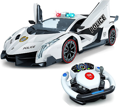 Top Race Remote Control RC Police Car, 4D Motion Gravity And Steering Wheel • 59.99£