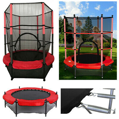 4.5FT Mini Trampoline Set With Enclosure Safety Net Outdoor Indoor Kids Toy Play • 58£