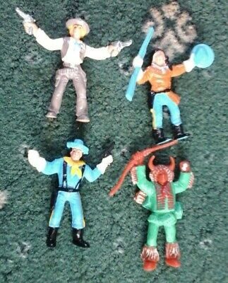 VINTAGE COMANSI WILD WEST COWBOYS AND INDIANS PLASTIC FIGURES. Very Rare Painted • 9£