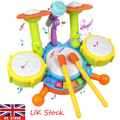 Baby Kids Electric Drum Kit Toddler Musical Instruments With Microphone Set Toys • 19.15£