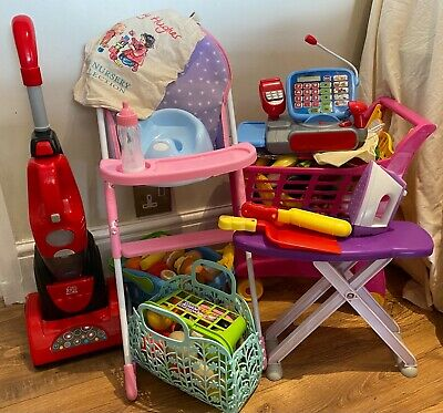 Toy Shop & Home Accessories, Toy Food, High Chair, Cash Register, Trolley Bundle • 22£