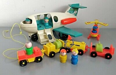 Vintage 70's Fisher Price Jet Plane, Helicopter, People, Transport & Luggage • 24.99£