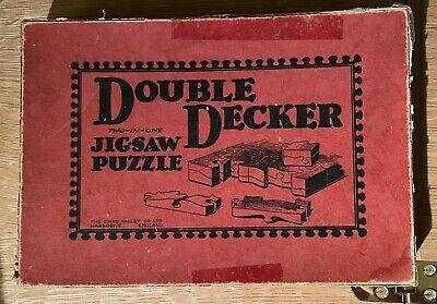 Rare Chad Valley Vintage Double Decker Wood Jigsaw Puzzle Double Sided & Tricky! • 5£