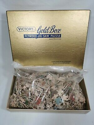 Victory Gold Box Plywood Jigsaw Puzzle G.J Hayter & Co Vintage Complete (c)1950 • 35£