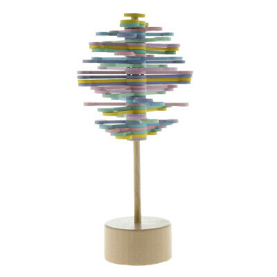 Wooden Rotating Lollipop Magic Rotating Toy Home Office Decor Macaron Color • 6.90£