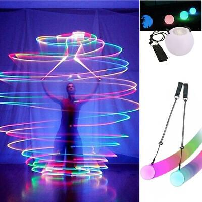 LED Multi-Colored Glow POI Thrown Balls Light Up For Belly Dance Hand Props Gi • 6.49£