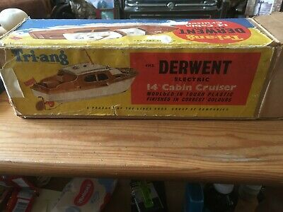 Vintage Triang Derwent 14  Battery Operated Cabin Cruiser, Boxed, Used • 22£