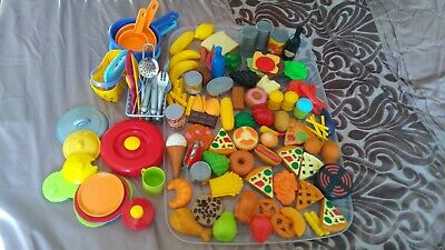 Large Bundle Plastic Play Food, Cutlery, Cooking Utensils, Saucepans Etc • 10£