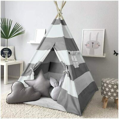 Teepee Tent Kids With Floor Mat &Carry Case &Coloured Flag Playhouse Grey Stripe • 34.99£