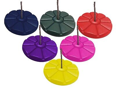 Kids Button Swing Disc Monkey Round Rope Swing In Green, Blue, Pink, Purple Red • 11.99£