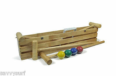4 Player Pro Croquet Set Rubber Wood Wooden Croquet In Box Family Garden Game • 133.99£