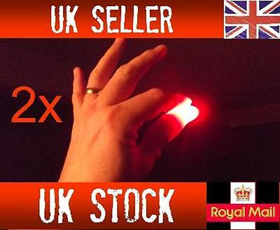 2x Magic Balls Of Light Up Thumbs Fingers RED Trick Appearing Light Close Up • 2.24£