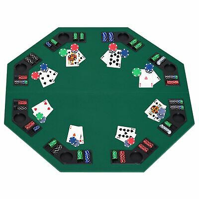 HOMCOM 1.2m/48 Inches Foldable Poker Table Top 8 Players Blackjack Chip Trays • 38.99£