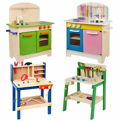 Kids Wooden Work Tool Bench Kitchen Set Pretend Play Toys Cooking Chef Gift Xmas • 29.99£
