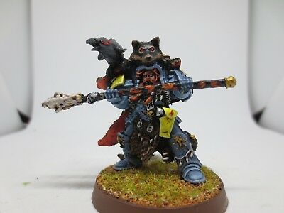Warhammer 40K Space Wolves Njal Stormcaller In Terminator Armour Painted G84 • 29.99£