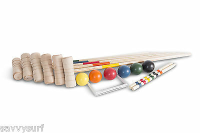 Croquet Set 6 Player Birch Croquet Set Garden Games Family Game Family Sports • 42.99£