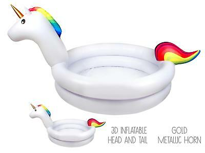 Unicorn Childrens/Kids Inflatable 2 Ring Paddling Swimming Pool Summer Garden • 14.99£