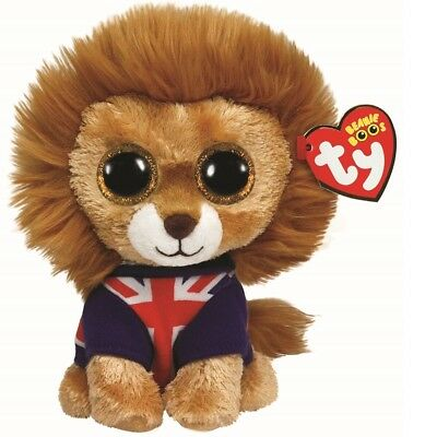 Ty Beanie Boos 36055 Hero The Lion With Union Jack Jumper Boo Regular • 7.95£