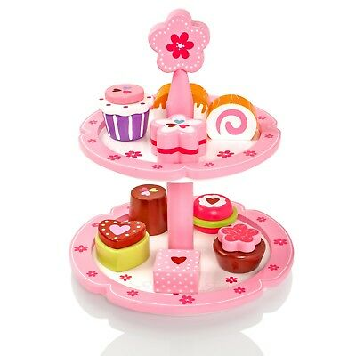 Childrens/Kids Wooden Cakes & Stand Pretend Play-Food Playset Tea-Set Party Toy • 13.99£