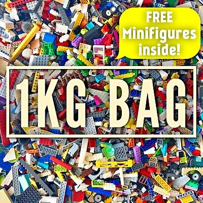 LEGO Bundle 1kg Mixed Bricks Parts Pieces Minifigures + Accessories Job Lot Set • 22.99£