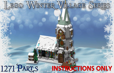 Lego Winter Village Classic Church -INSTRUCTIONS ONLY- Christmas MOC  • 4.95£