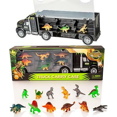 Dinosaur Truck Carry Case Transporter + 12 Toy Dino Figures Jurassic Playset Car • 10.99£