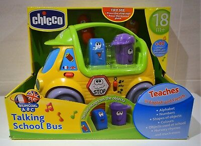 Chicco Electronic Educational Toy Talking School Bus Teaches French + English • 24.99£