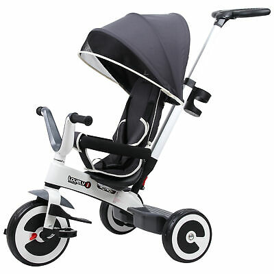 HOMCOM Baby Tricycle Children's 4 In 1 Trikes Kids Stroller W/ Canopy Dark Grey • 77.99£