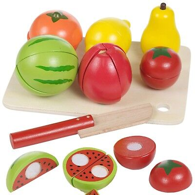 Wooden Kids Cut Up Pretend Play Kitchen Toy Food Cutting Fruit Vegetable Board • 10.99£