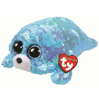 Ty Beanie Flippables 36676 Wave The Blue Seal Sequin Flippable Regular • 9.95£