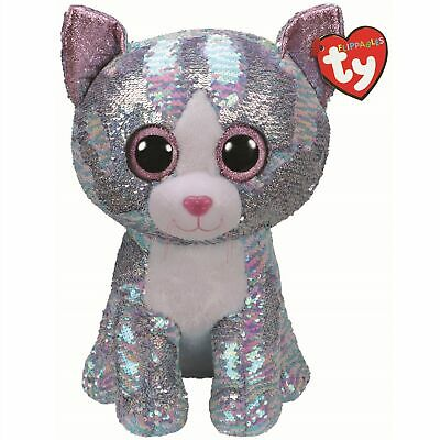 Ty Beanie Flippables 36762 Whimsy The Blue Cat Sequin Flippable Large • 33.11£