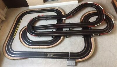 Scalextric Digital Layout With 3 Lane Changers / Flyover / Chicanes & 4 Cars  • 495£