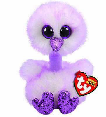 Official Ty Beanie Babies Boos Kenya Lavender Ostrich Plush Soft Toy With Tags • 7.95£
