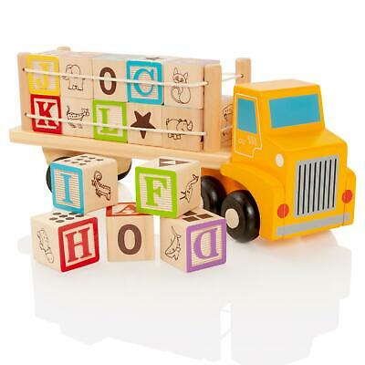 Milly & Ted Wooden Letters & Numbers Blocks Truck Childrens Building Toy • 7.99£