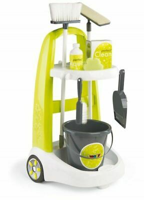 Childrens Cleaner Roleplay Cart Smoby Kids Cleaning Trolley Set & Accessories • 34.95£