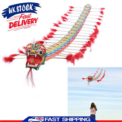 Kids Gift Chinese Dragon Kite Plastic Foldable Children Outdoors Educational Toy • 16.13£