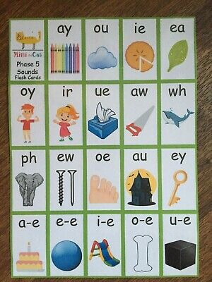 19 Phase 5 Sounds Flash Cards Letters Sounds Pictures KS1 KS2 Phonics Screening • 3.99£