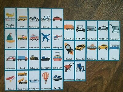 31 Vehicles First Words Flash Cards Reading Writing Toddler Pre School Baby  • 3.99£