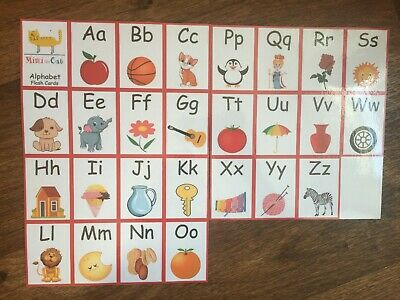 26 First Alphabet Flash Cards Colours Animals Reading Writing Pre School Child • 3.99£