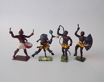 Cherilea Toys X4 African Warriors 65mm Vintage Plastic Toy Soldiers • 24.99£