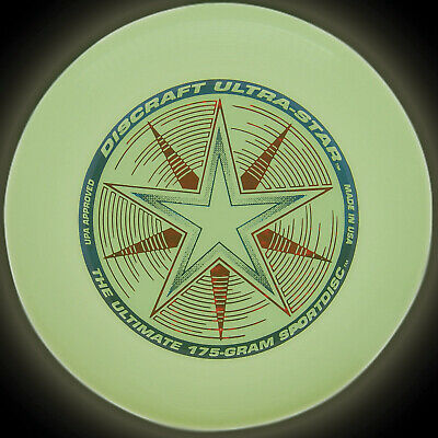 Discraft Frisbee Flying Disc Ultra-Star Night Glow 175g • 11.99£
