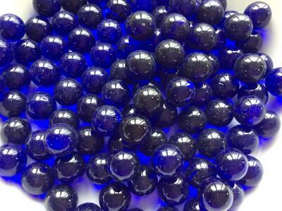 25 CLEAR COBALT BLUE GLASS MARBLES 16mm Timeless Traditional Toy/game Art  • 3.20£