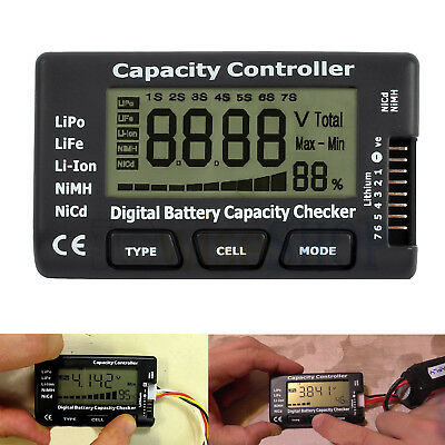 LCD Digital Battery Capacity Controller Checker Tester For LiPo LiFe Li-ion NiMH • 4.99£