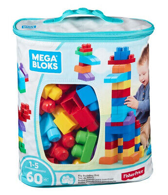 Mega Bloks 60 Pcs Big Building Bag Blue • 12.99£