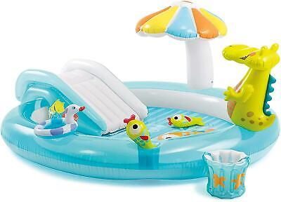 Intex Gator Childrens Activity Water Play Centre Paddling Pool Slide Spray • 42.99£
