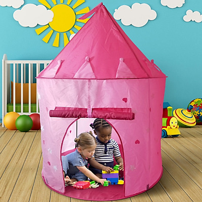 Girls Kids Pink PRINCESS PALACE Pop Up Castle Play Tent - Indoor/Outdoor Garden • 14.98£