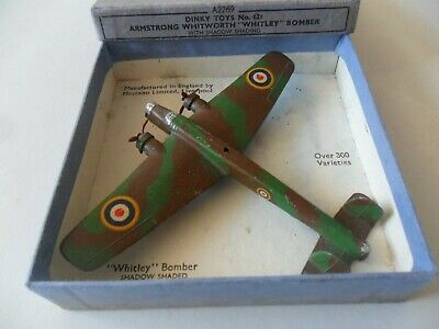 Dinky Toys Aeroplane #62t Whitley Bomber Aircraft With Box, Excellent Example • 175£