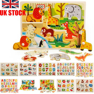 Wooden Puzzle Baby Kids Toddler Jigsaw Alphabet Letters Animal DIY Learning Toys • 4.26£
