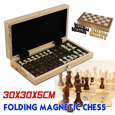 Large Chess Wooden Set Folding Chessboard Magnetic Pieces Wood Board UK • 13.59£
