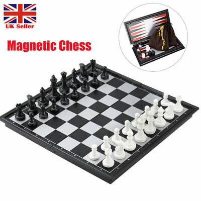 Folding Magnetic Chess 3in1 Set Board Game Checkers Backgammon Draughts Gift Toy • 7.99£